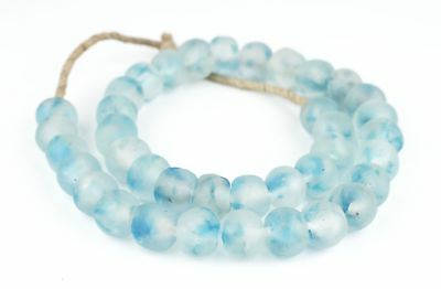 Cobalt Blue Recycled Glass Beads 18mm Ghana African Sea Glass Round Large Hole