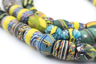 Oval Antique Venetian African Millefiori Trade Beads 11mm Ghana Multicolor Glass
