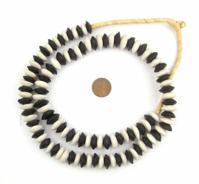 Black and White Medley Ashanti Glass Saucer Beads 14mm Ghana African Large Hole