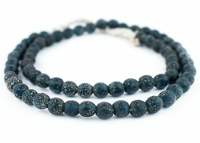 Dark Blue Ancient Style Java Glass Beads 9mm Indonesia Round Large Hole