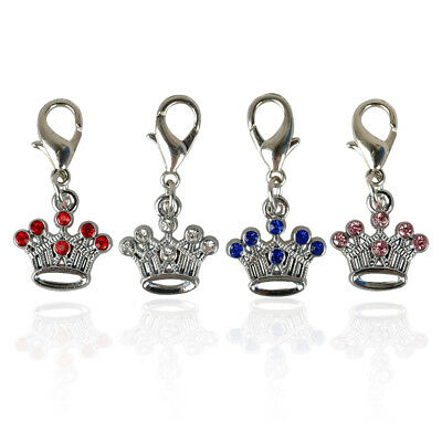 10/20/50pcs Bling Crown Dog Collar Charms ID Tag Disc Pet DIY Necklace Pendants