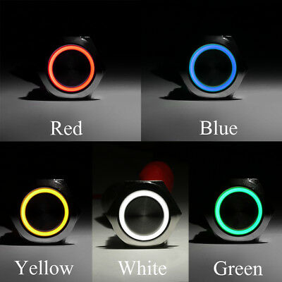 12V 19mm Car Aluminum LED Power Push Button Metal ON/OFF Switch Latch 5 Colors