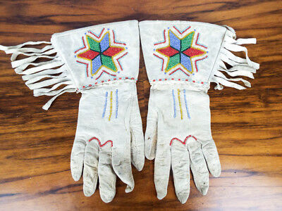 Antique Native American Star Beaded Fringe Hide Gauntlets Plateau Style Gloves