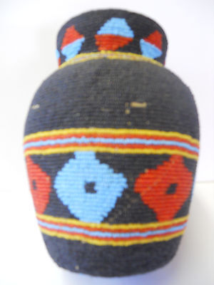 Rare  Native American Beaded Pot