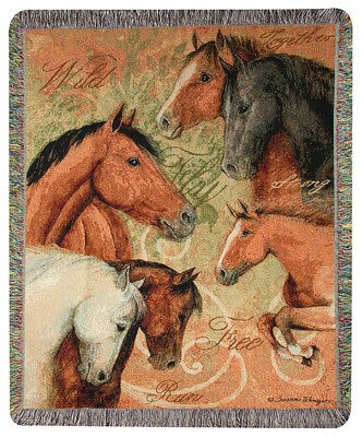 """Throws - """"wild & Free"""" Tapestry Throw Blanket - 50"""" X 60"""" - Equestrian - Horse"""