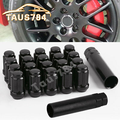 20pc 12x1.5 Black Closed End 6 Spline Lug Nuts + 2 Keys Fits Honda Acura Toyota