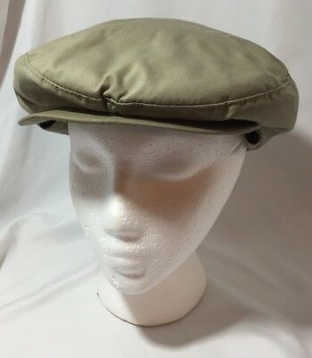 Vtg Newsboy Hat Front Snap Cap Khaki Med USA Made Thinsulate Thermal Insulation