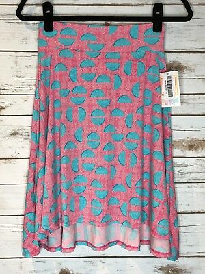 NWT LuLaRoe KIDS AZURE Skirt Size 12-14 -Silkie PINK with WHITE and TURQUOISE