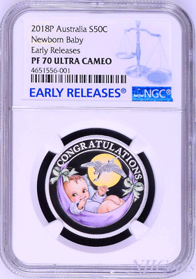 2018 P Australia PROOF COLORIZED Silver Newborn Baby NGC PF70 1/2oz 50c Coin