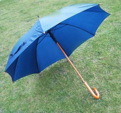 ~ New ~ Men's Automatic Navy Full Size Umbrella - Wood Shaft & Handle