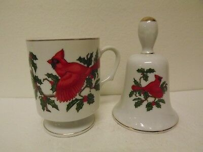 Vintage Lefton Cardinal Japan Porcelain Cup & Bell Lot