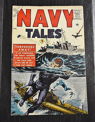 NAVY TALES #1-1957-ATLAS-BILL EVERETT COVER-PETE MORISI-DAVY BERG Stan Lee Edit