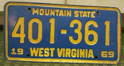 Vintage 1969 West Virginia License Plate W.Va # 401-361