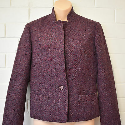 Vintage Pure Wool Purple Work Career Blazer Jacket Size 6 8 1970s Leon Cutler