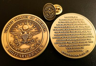"BBBFMAY50% ~Military Children (Brats) ""Armor of God"" Coin & Bronze Pin 2 pc Set"