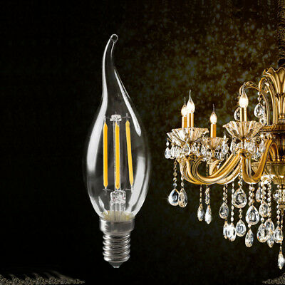 E14 2W 4W 6W Dimmable-LED Candle Filament Light Bulbs Edison SES Replace Halogen