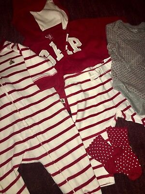 Baby GAP lot of 0-3 months Girls Clothes; comfy red and white mix and match set