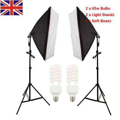Photo Studio Softbox Continuous Lighting Video 2x 65W Soft Box Light Stand Kit