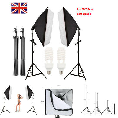 Photo Studio 50x50cm LED Softbox Continuous Lighting Soft Box Light stand Kit UK