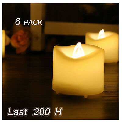 Flameless LED Battery Operated Tea Light  Votive Candles with Timer 6-Pack 200H