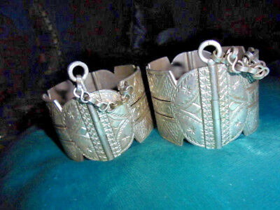 Moroccan Jewelry Old Matched Pr Massa Berber Sterling Clasp Bracelets,w Chains