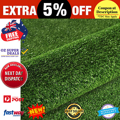 New Artificial Grass 20 SQM Synthetic Artificial Turf Flooring 15mm Olive + FREE