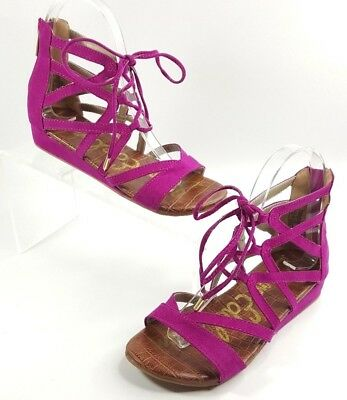 fb45fb6b4 Sam Edelman Youth Girls Danica Fuchsia Lace Up Low Wedge Sandals Size 2