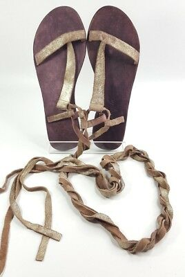 9ea293a4f48d Free People Dahlia Lace Up Gladiator Sandals Size 37 Sunkissed Shimmer Gold