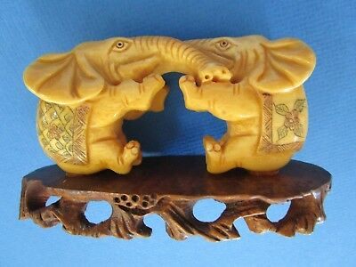 Pair of CHINESE HAND CARVED /HAND ETCHED BOVINE BONE ELEPHANTS