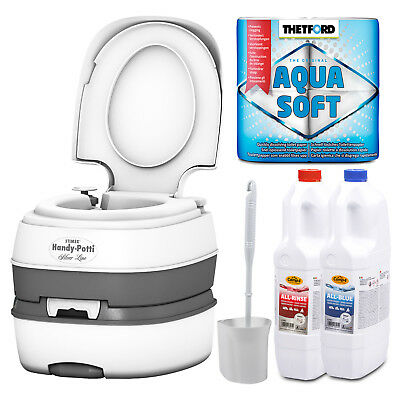 Campingtoilette Mobil WC Klo Camping + Aquasoft, All Rinse, All Blue + Bürste