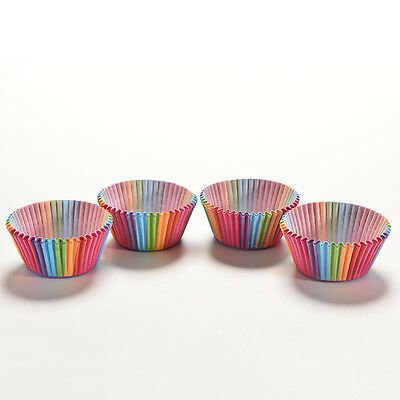 100X Colorful Rainbow Paper Cake Cupcake Liners Baking Muffin Cup Cases Party XD