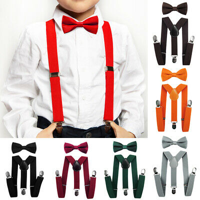 AXY Children Suspenders - Y Form 2,5cm Wide with fliege-3 Clips Extra