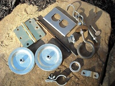 LOT NEW VINTAGE USED HARDWARE MISC HINGE Clothes Line Pulleys hooks Plate Cover