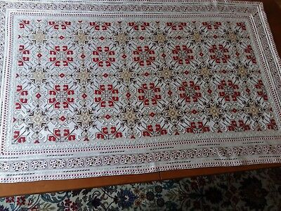 ANTIQUE Vintage Hand Embroidery Linen Tablecloth Silk Threads Ivory Rectangular