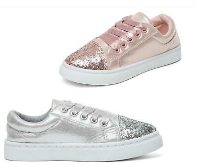 Girls Trainers Casual Summer Lace Up Pumps Sliver Party Glitter Skate shoe