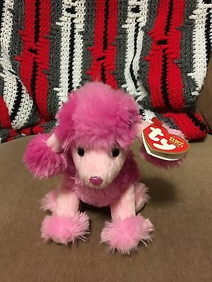 TY Beanie Baby - OOH-LA-LA the Pink Poodle Dog Stuffed Animal Toy - MWMT - 2004