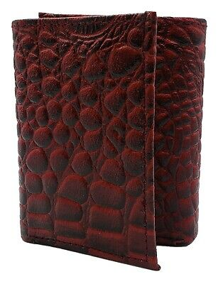 Men's Genuine Leather Alligator skin Embossed Trifold Cowboy Wallet New Red