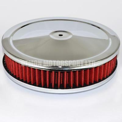 "9"" inch Red Pancake Air Filter Ideal For Holley, Edelbrock, SU Carb Carburetor"