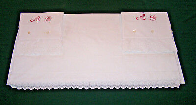 "SPECTACULAR VINTAGE c1880 SHEET, PILLOWCASES, BRODERIE ANGLAISE TRIM, ""AL"" MONO"