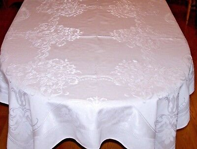 "VINTAGE DAMASK TABLECLOTH, SNOW WHITE, CLASSICAL URNS & FLOWERS, 70"", c1930"