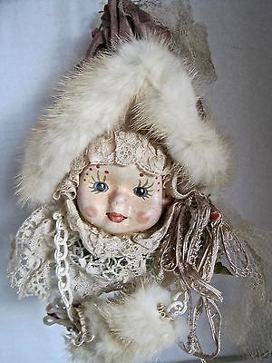Handmade Victorian Lady Christmas Ornament Dressed In Lace Faux Mink Hat & Muff