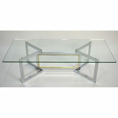 Vintage Mid-Century Modern French Brass and Chrome Glass Coffee Table, ca. 1960