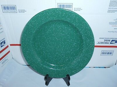 """1 GREEN /& WHITE SPECKLED 10 3//4/"""" ENAMELWARE DINNER PLATE CAMPING HUNTING FISHING"""