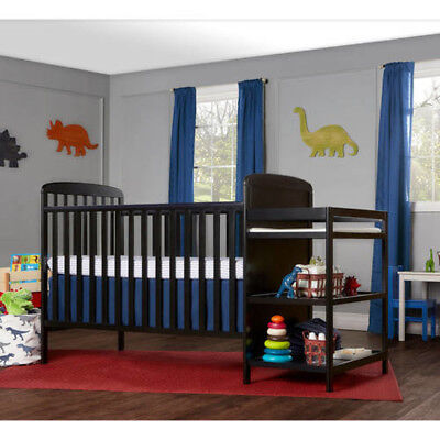 4-in-1 Baby Crib and Changing Table Combo Furniture Full Size Black