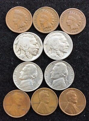 Indian, Lincoln Wheat Cents, Buffalo, Jefferson Nickels - Mixed