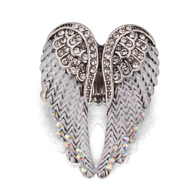 Plated Antique Silver For Women Bling Rhinestone Crystal Jewelry Ring Wings