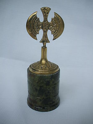 vintage antique Greek labrys brass double headed axes  granite base paperweight