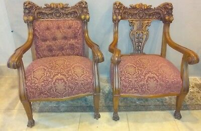 Pair of Original Antique Medieval Gothic King and Queen Throne Chairs
