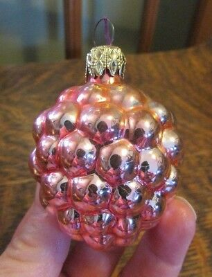 Vintage Blown Glass Pink Grapes Christmas Ornament, West Germany