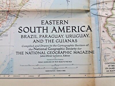 Vintage National Geographic Map - Eastern South America (1955)